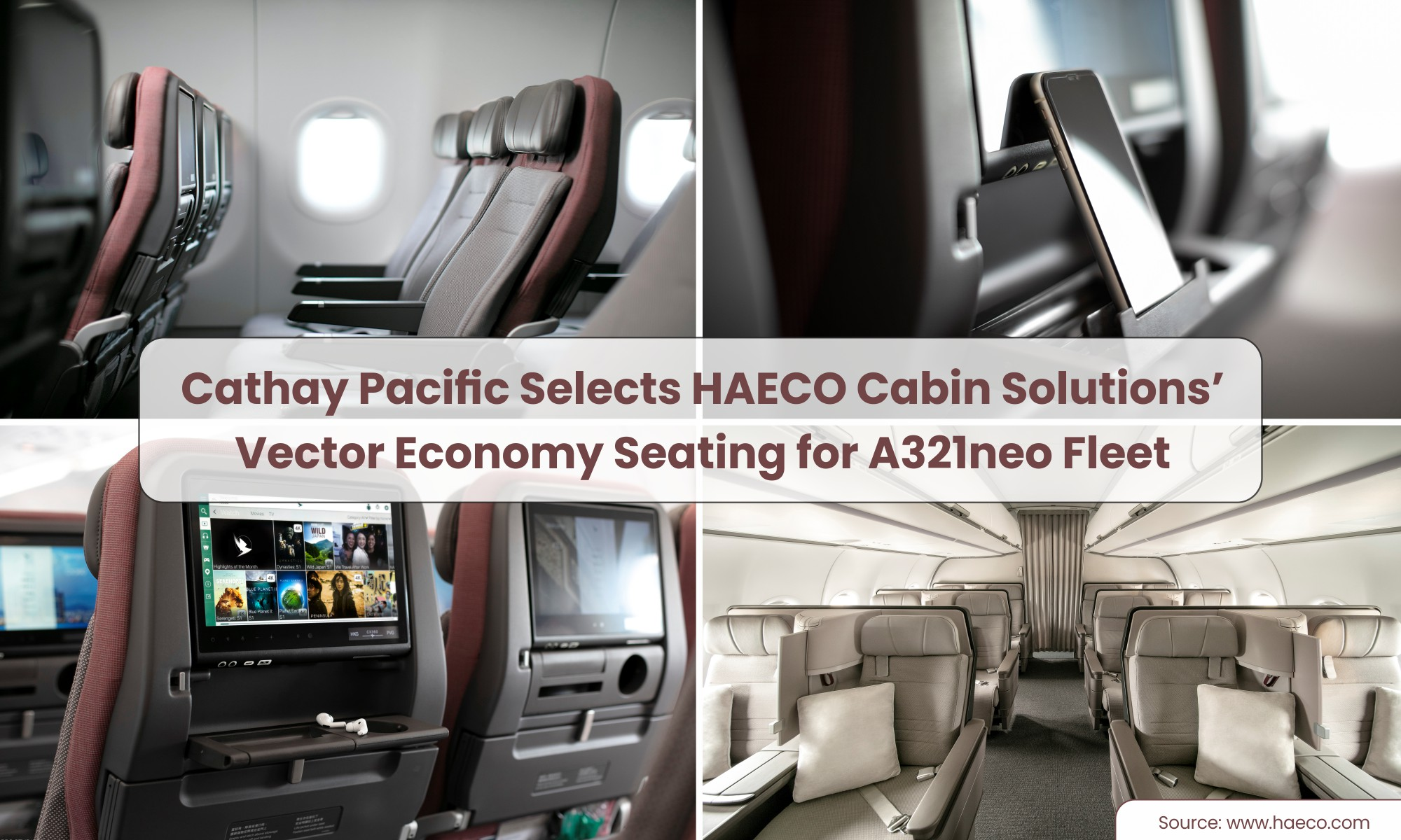 Cathay Pacific Selects HAECO Cabin Solutions' Vector Economy Seating for New Airbus A321neo fleet